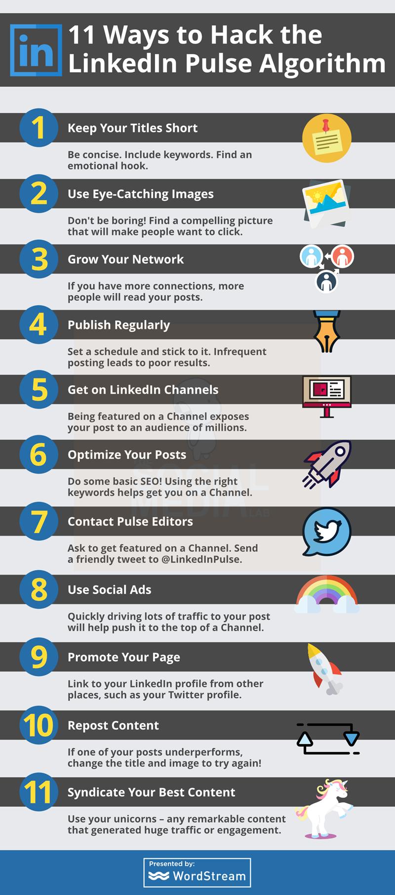 11 maneras de hackear el algoritmo de Pulse de LinkedIn - Infografia. ¿Tienes un blog y escribes en él? Seguro que quieres que tu contenido sea visible y leído por tantas personas como sea posible, ¿verdad? Con Linkedin Pulse es posible.
